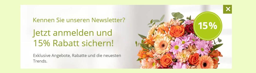 Valentins Gutschein Newsletter 15% Rabatt